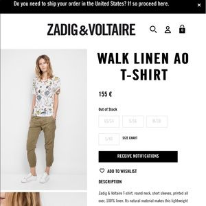 Zadig & Voltaire Limited Edt. Linen AO Tee. Size M